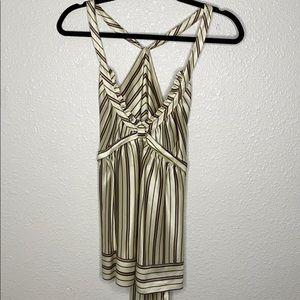 Silk deep v halter back blouse w/tie by BCBG